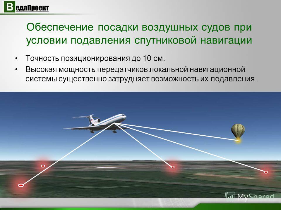 Обеспечение посадки воздушных судов при условии подавления спутниковой навигации Точность позиционирования до 10 см. Высокая мощность передатчиков локальной навигационной системы существенно затрудняет возможность их подавления.