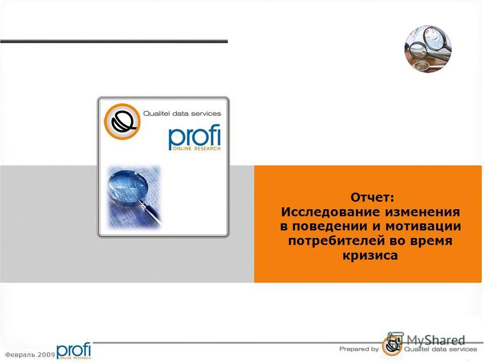 Февраль 2009 Отчет: Исследование изменения в поведении и мотивации потребителей во время кризиса