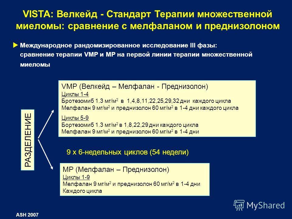 VISTA: Велкейд - Стандарт Терапии множественной миеломы: сравнение с мелфаланом и преднизолоном VMP (Велкейд – Мелфалан - Преднизолон) Циклы 1-4 Бротезомиб 1.3 мг/м 2 в 1,4,8,11,22,25,29,32 дни каждого цикла Мелфалан 9 мг/м 2 и преднизолон 60 мг/м 2