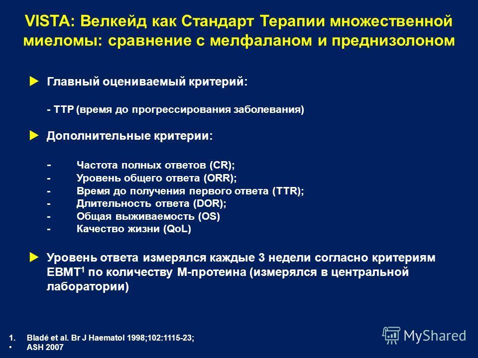 Главный оцениваемый критерий: - TTP (время до прогрессирования заболевания) Дополнительные критерии: - Частота полных ответов (CR); - Уровень общего ответа (ORR); - Время до получения первого ответа (TTR); - Длительность ответа (DOR); - Общая выживае