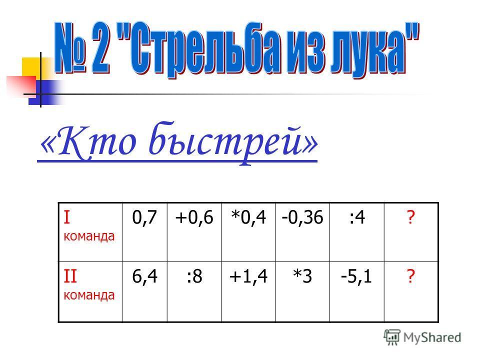 «Кто быстрей» I команда 0,7+0,6*0,4-0,36:4? II команда 6,4:8+1,4*3-5,1?