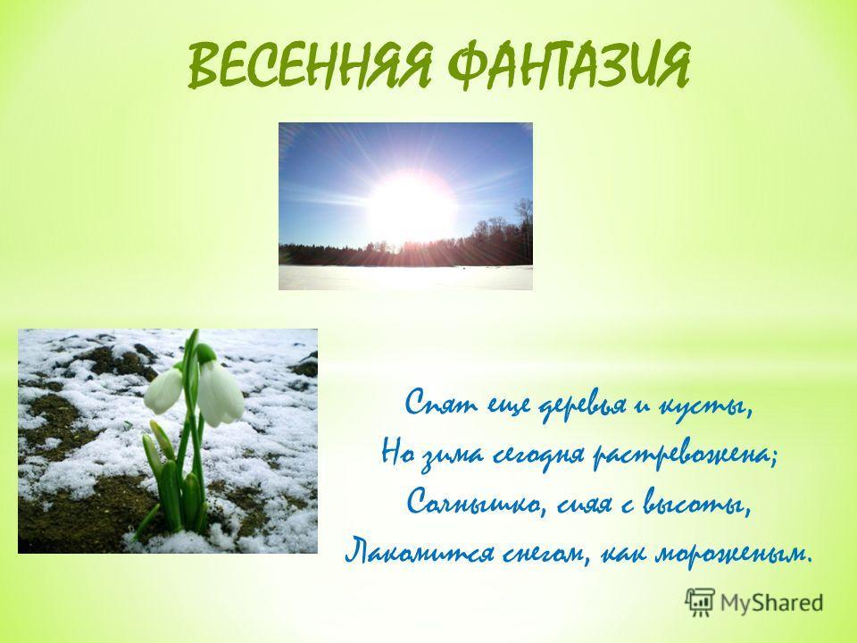 Спят еще деревья и кусты, Но зима сегодня растревожена; Солнышко, сияя с высоты, Лакомится снегом, как мороженым. ВЕСЕННЯЯ ФАНТАЗИЯ