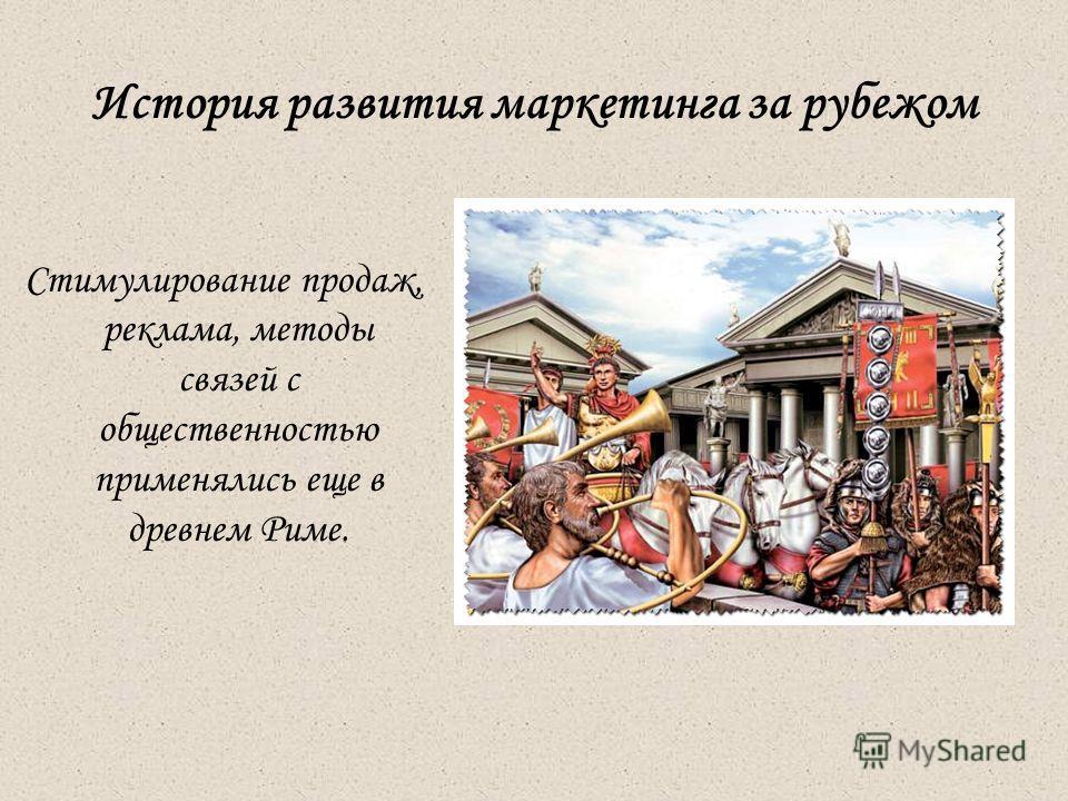 История развития маркетинга за рубежом Стимулирование продаж, реклама, методы связей с общественностью применялись еще в древнем Риме.