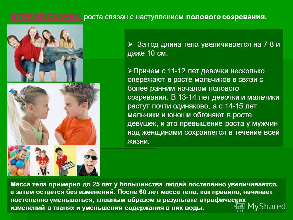 За год длина тела увеличивается на 7-8 и даже 10 см. Причем с 11-12 лет девочки несколько опережают в росте мальчиков в связи с более ранним началом полового созревания. В 13-14 лет девочки и мальчики растут почти одинаково, а с 14-15 лет мальчики и
