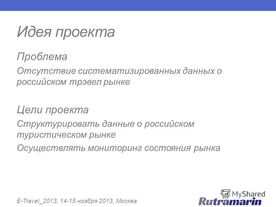 Идея проекта E-Travel_2013, 14-15 ноября 2013, Москва Проблема Отсутствие систематизированных данных о российском трэвел рынке Цели проекта Структурировать данные о российском туристическом рынке Осуществлять мониторинг состояния рынка