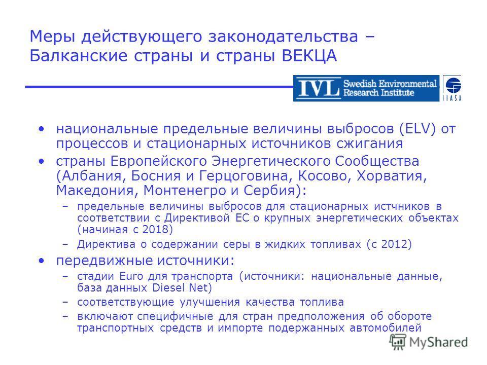 Меры действующего законодательства – Балканские страны и страны ВЕКЦА национальные предельные величины выбросов (ELV) от процессов и стационарных источников сжигания страны Европейского Энергетического Сообщества (Албания, Босния и Герцоговина, Косов