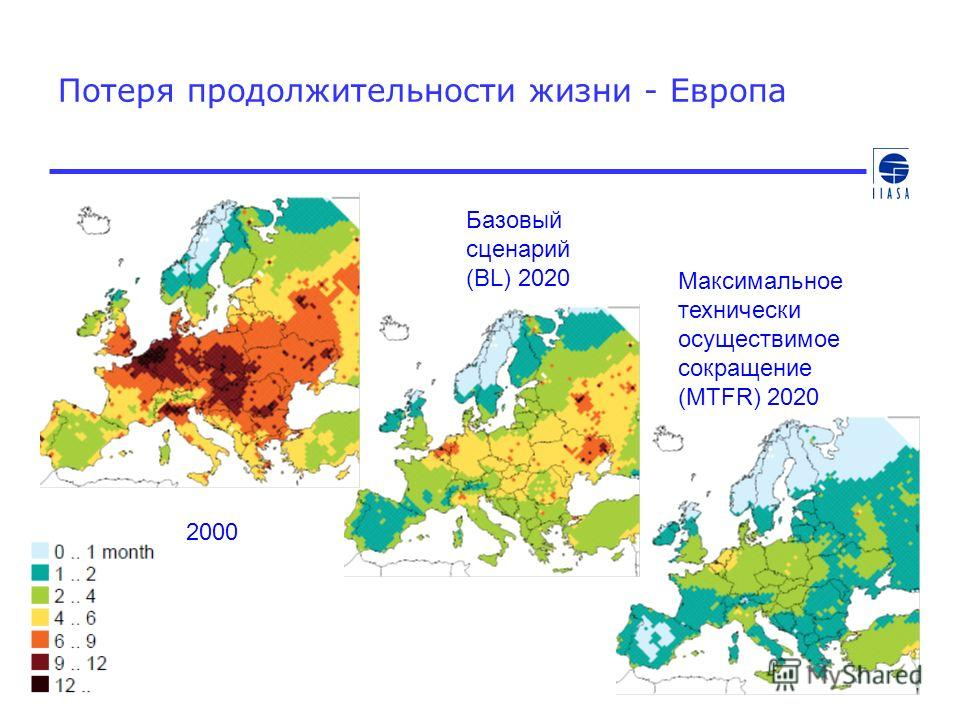 Потеря продолжительности жизни - Европа 2000 Базовый сценарий (BL) 2020 Максимальное технически осуществимое сокращение (MTFR) 2020