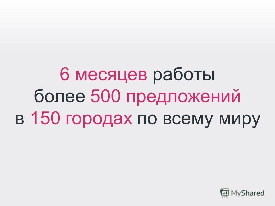 6 месяцев работы более 500 предложений в 150 городах по всему миру
