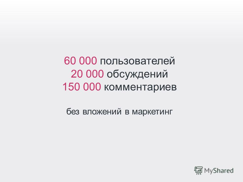 60 000 пользователей 20 000 обсуждений 150 000 комментариев без вложений в маркетинг