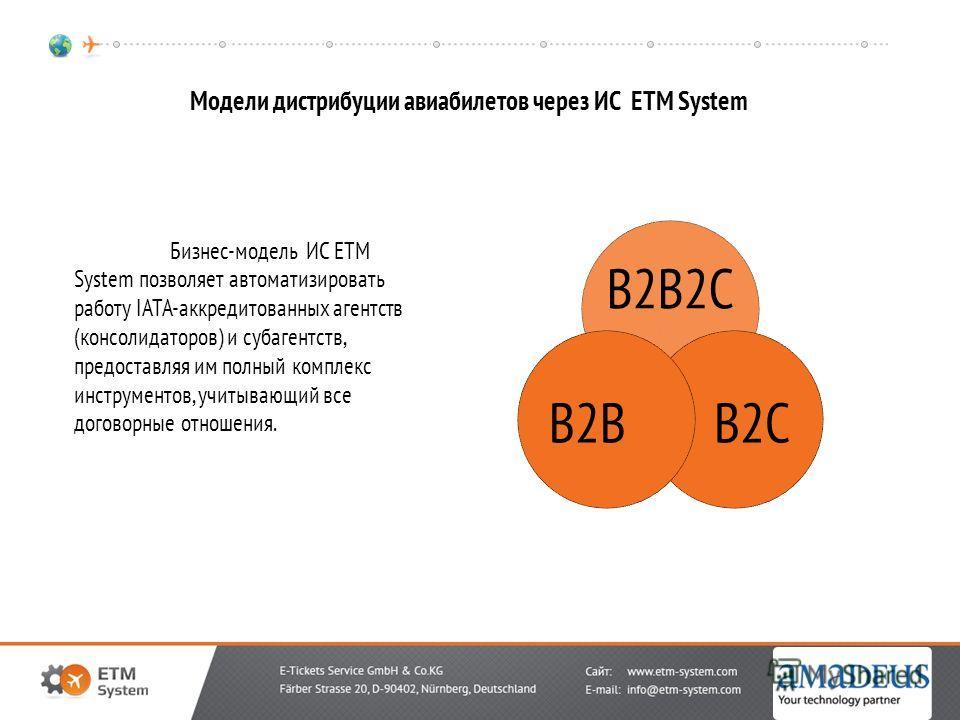 Модели дистрибуции авиабилетов через ИС ETM System B2B2C B2CB2B Бизнес-модель ИС ETM System позволяет автоматизировать работу IATA-аккредитованных агентств (консолидаторов) и субагентств, предоставляя им полный комплекс инструментов, учитывающий все