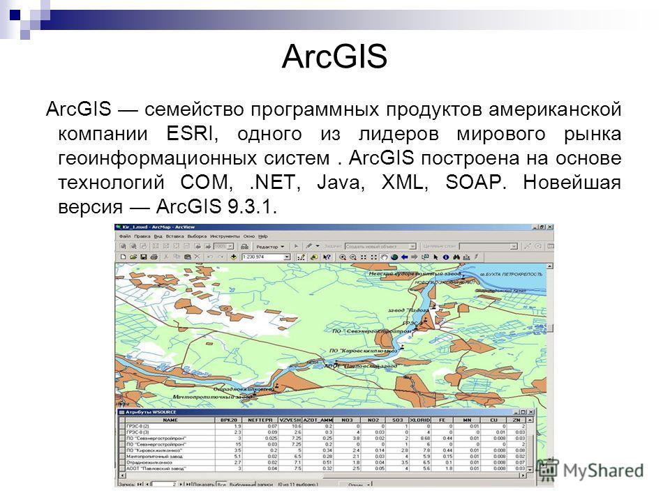 ArcGIS ArcGIS семейство программных продуктов американской компании ESRI, одного из лидеров мирового рынка геоинформационных систем. ArcGIS построена на основе технологий COM,.NET, Java, XML, SOAP. Новейшая версия ArcGIS 9.3.1.