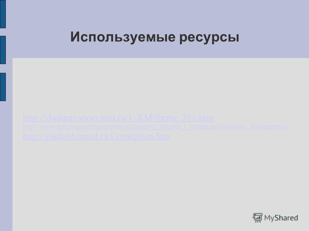 Используемые ресурсы http://vladimir.socio.msu.ru/1_KM/theme_311.htm http://www.jcsi.ru/pages/main/promyshlennyyi_dizayin_i_vizualizaciya/oblasti_primeneniya/ http://yukhvid.narod.ru/Conseption.htm