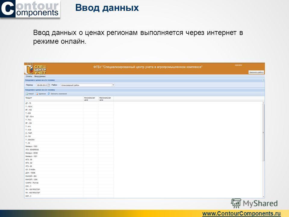 Ввод данных www.ContourComponents.ru Ввод данных о ценах регионам выполняется через интернет в режиме онлайн.
