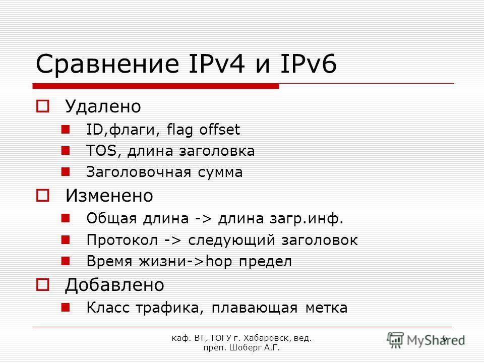 каф. ВТ, ТОГУ г. Хабаровск, вед. преп. Шоберг А.Г. 6 Сравнение IPv4 и IPv6 Удалено ID,флаги, flag offset TOS, длина заголовка Заголовочная сумма Изменено Общая длина -> длина загр.инф. Протокол -> следующий заголовок Время жизни->hop предел Добавлено