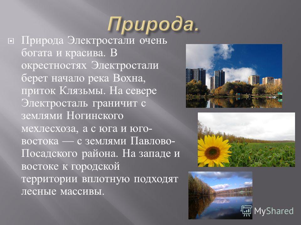 Природа Электростали очень богата и красива. В окрестностях Электростали берет начало река Вохна, приток Клязьмы. На севере Электросталь граничит с землями Ногинского мехлесхоза, а с юга и юго - востока с землями Павлово - Посадского района. На запад