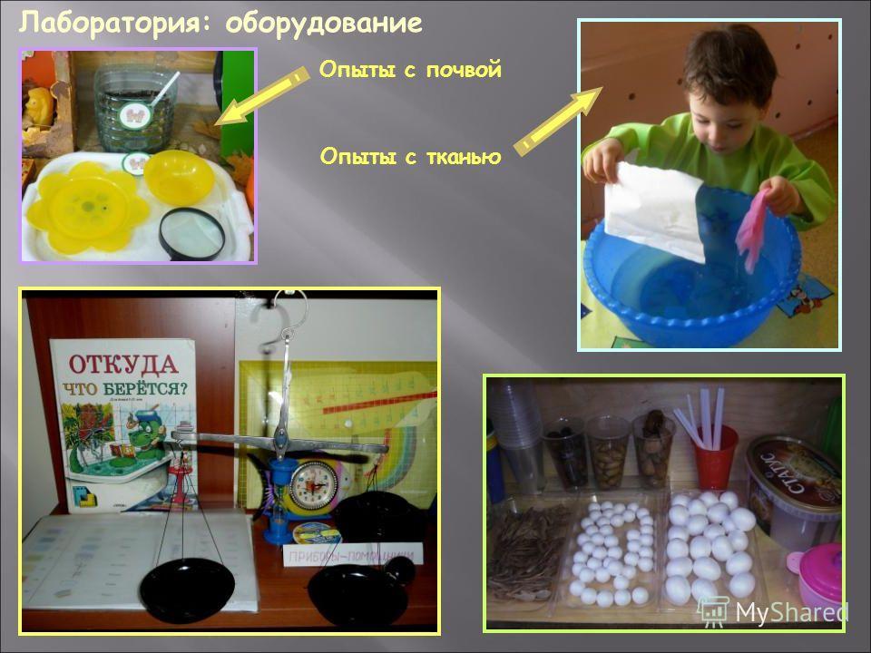 Лаборатория: оборудование Опыты с почвой Опыты с тканью