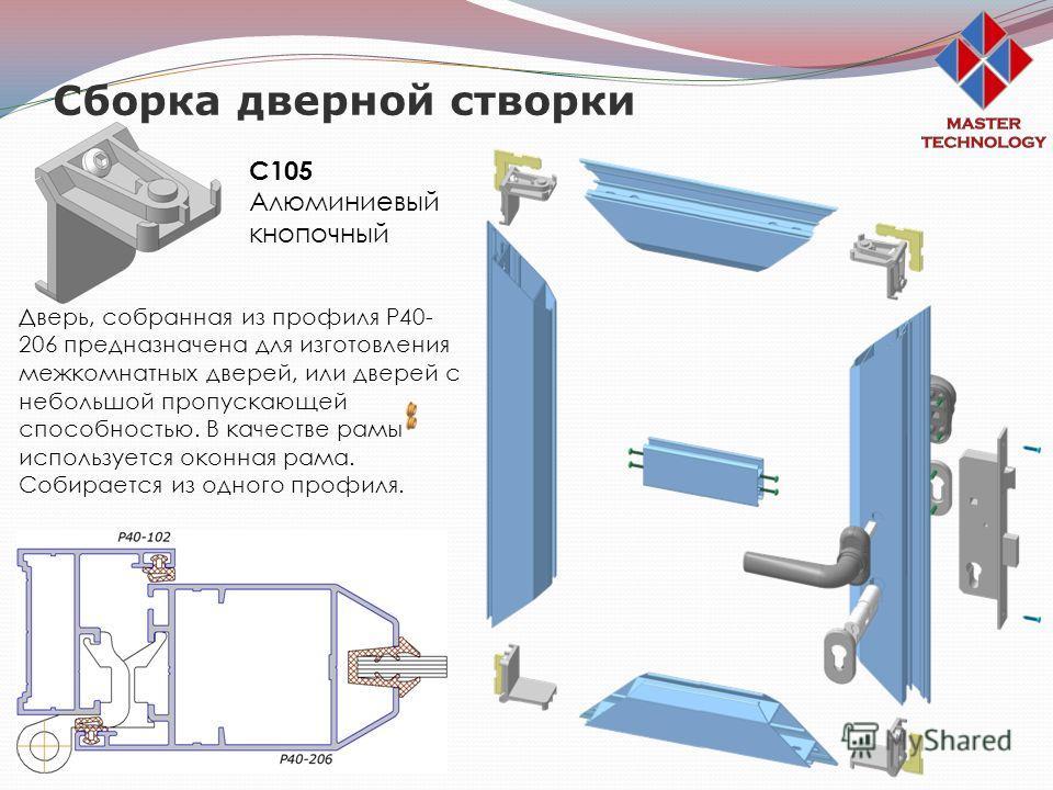 Сборка дверной створки С105 Алюминиевый кнопочный Дверь, собранная из профиля Р40- 206 предназначена для изготовления межкомнатных дверей, или дверей с небольшой пропускающей способностью. В качестве рамы используется оконная рама. Собирается из одно