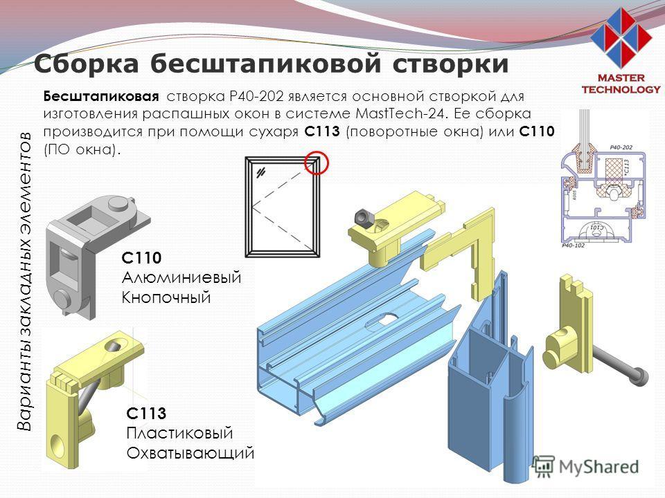 Сборка бесштапиковой створки Варианты закладных элементов С110 Алюминиевый Кнопочный С113 Пластиковый Охватывающий Бесштапиковая створка Р40-202 является основной створкой для изготовления распашных окон в системе MastTech-24. Ее сборка производится