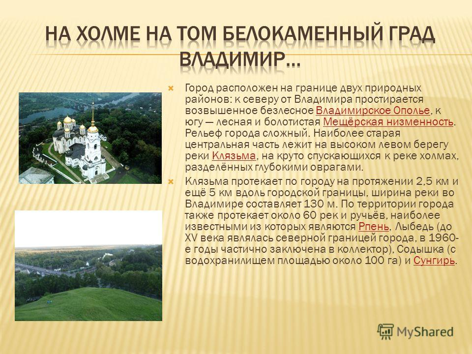 Город расположен на границе двух природных районов: к северу от Владимира простирается возвышенное безлесное Владимирское Ополье, к югу лесная и болотистая Мещёрская низменность. Рельеф города сложный. Наиболее старая центральная часть лежит на высок
