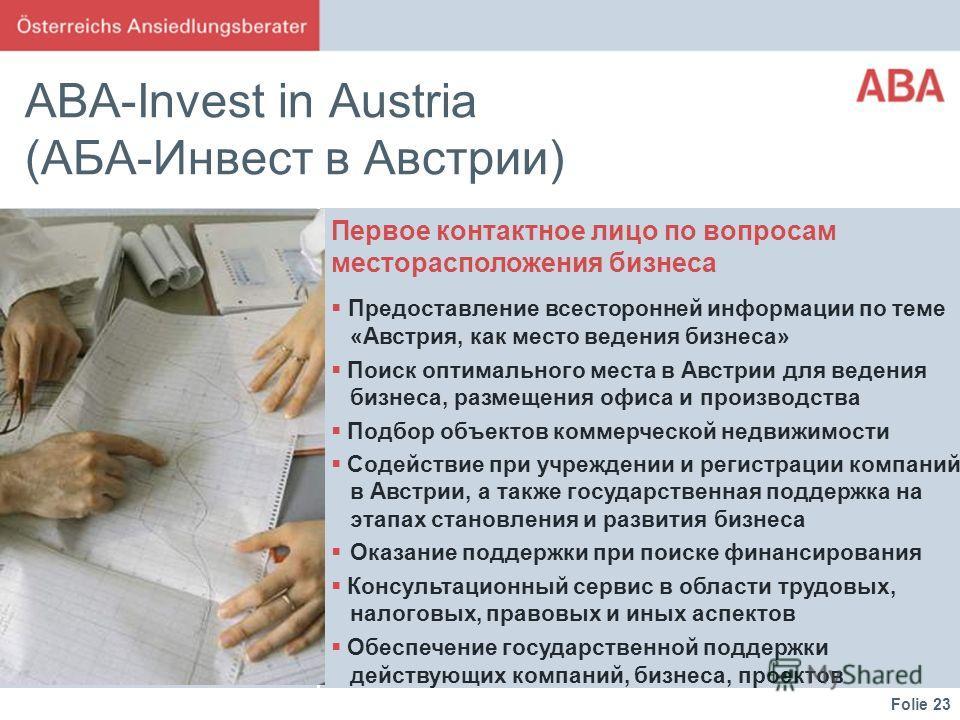 Folie 23 ABA-Invest in Austria (АБА-Инвест в Австрии) Первое контактное лицо по вопросам месторасположения бизнеса Предоставление всесторонней информации по теме «Австрия, как место ведения бизнеса» Поиск оптимального места в Австрии для ведения бизн