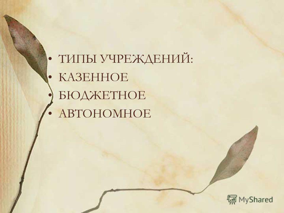 ТИПЫ УЧРЕЖДЕНИЙ: КАЗЕННОЕ БЮДЖЕТНОЕ АВТОНОМНОЕ