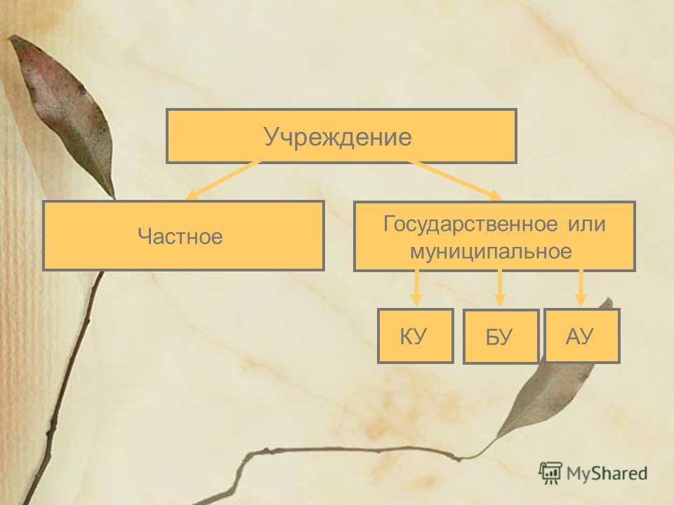 Учреждение Государственное или муниципальное КУАУ Частное БУ