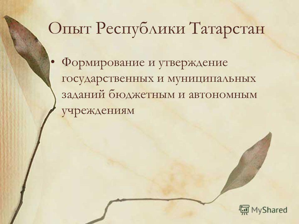 Опыт Республики Татарстан Формирование и утверждение государственных и муниципальных заданий бюджетным и автономным учреждениям