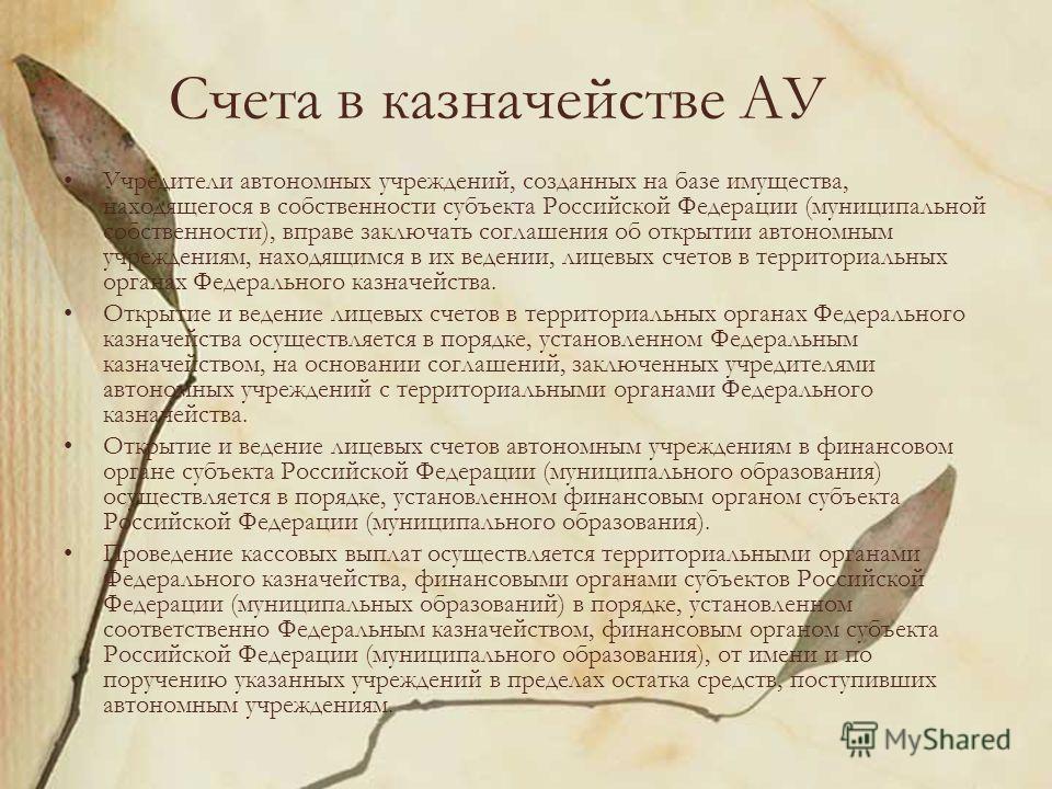 Счета в казначействе АУ Учредители автономных учреждений, созданных на базе имущества, находящегося в собственности субъекта Российской Федерации (муниципальной собственности), вправе заключать соглашения об открытии автономным учреждениям, находящим