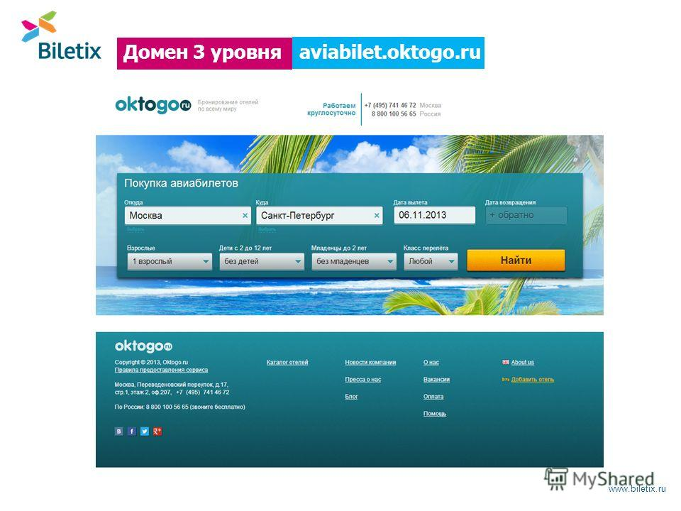 www.biletix.ru aviabilet.oktogo.ru Домен 3 уровня