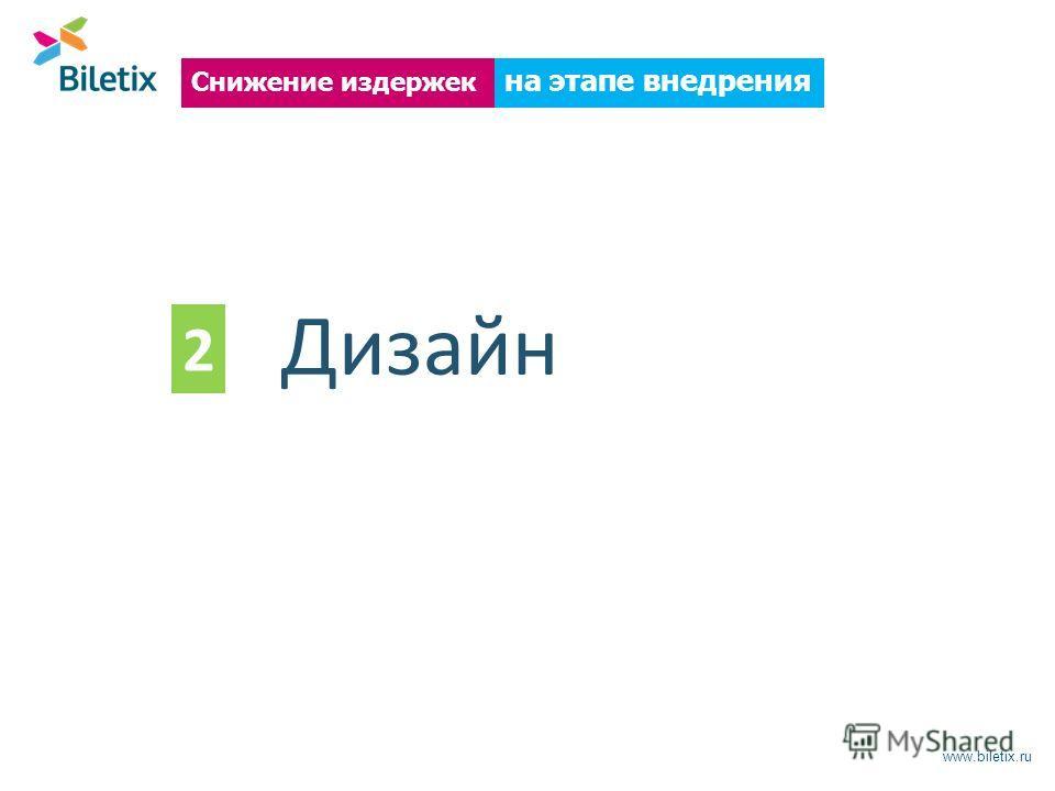 www.biletix.ru на этапе внедрения Снижение издержек Дизайн 2