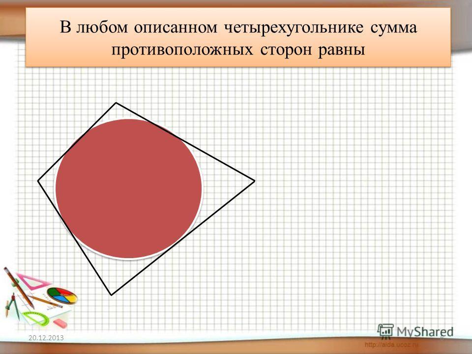 В любом описанном четырехугольнике сумма противоположных сторон равны 20.12.20136