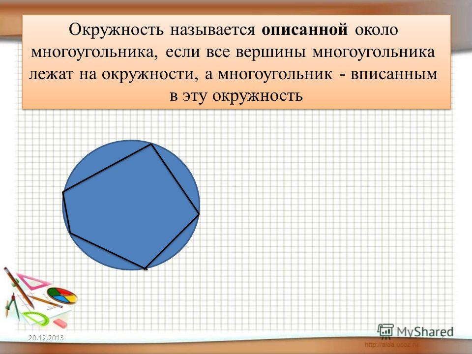 7 Окружность называется описанной около многоугольника, если все вершины многоугольника лежат на окружности, а многоугольник - вписанным в эту окружность Окружность называется описанной около многоугольника, если все вершины многоугольника лежат на о