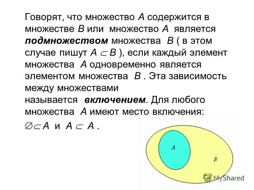 Говорят, что множество А содержится в множестве В или множество А является подмножеством множества В ( в этом случае пишут А В ), если каждый элемент множества А одновременно является элементом множества В. Эта зависимость между множествами называетс