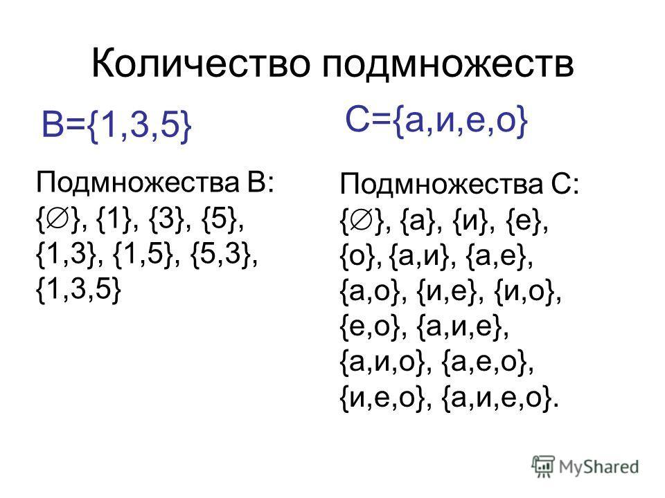 Количество подмножеств В={1,3,5} Подмножества В: { }, {1}, {3}, {5}, {1,3}, {1,5}, {5,3}, {1,3,5} С={а,и,е,о} Подмножества С: { }, {а}, {и}, {е}, {о}, {а,и}, {а,е}, {а,о}, {и,е}, {и,о}, {е,о}, {а,и,е}, {а,и,о}, {а,е,о}, {и,е,о}, {а,и,е,о}.