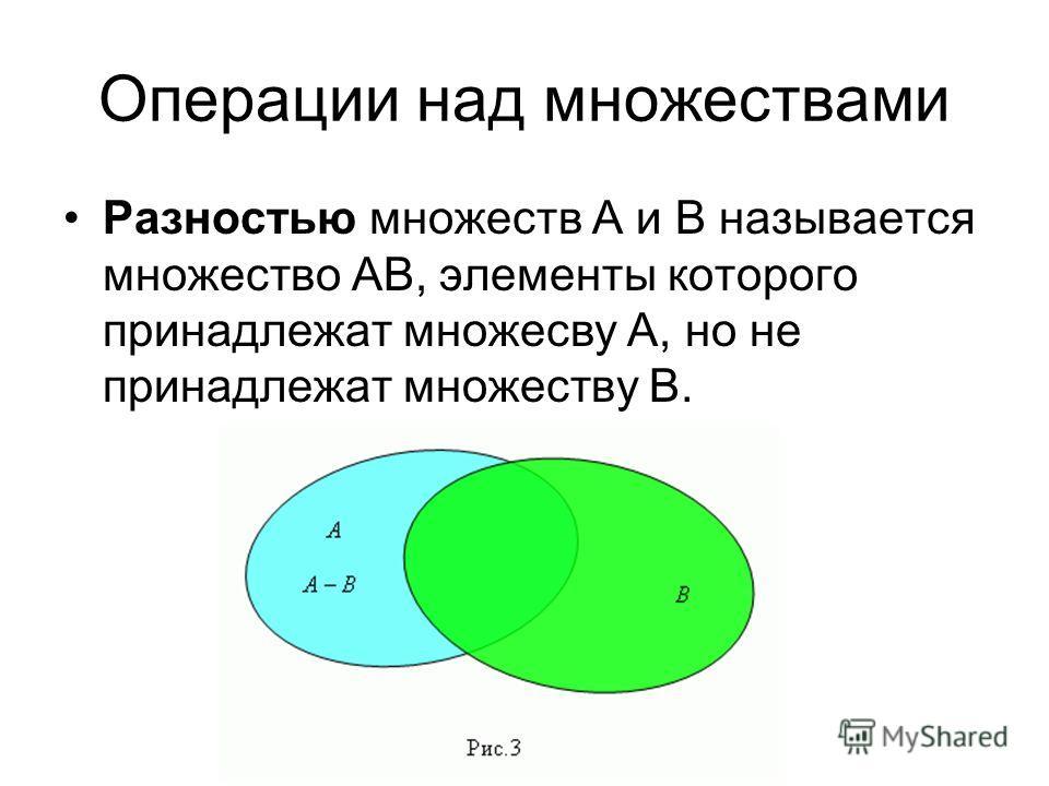 Операции над множествами Разностью множеств А и В называется множество АВ, элементы которого принадлежат множесву А, но не принадлежат множеству В.