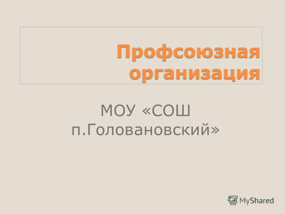 Профсоюзная организация МОУ «СОШ п.Головановский»