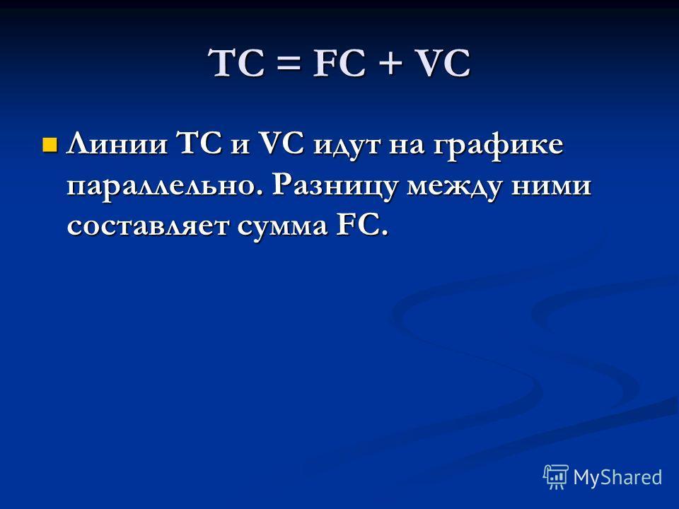 ТС = FC + VC Линии ТС и VC идут на графике параллельно. Разницу между ними составляет сумма FC. Линии ТС и VC идут на графике параллельно. Разницу между ними составляет сумма FC.