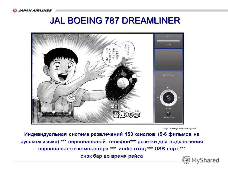 JAL BOEING 787 DREAMLINER Major © Takuya Mitsuda/Shogakkan Индивидуальная система развлечений 150 каналов (5-6 фильмов на русском языке) *** персональный телефон*** розетки для подключения персонального компьютера *** audio вход *** USB порт *** снэк