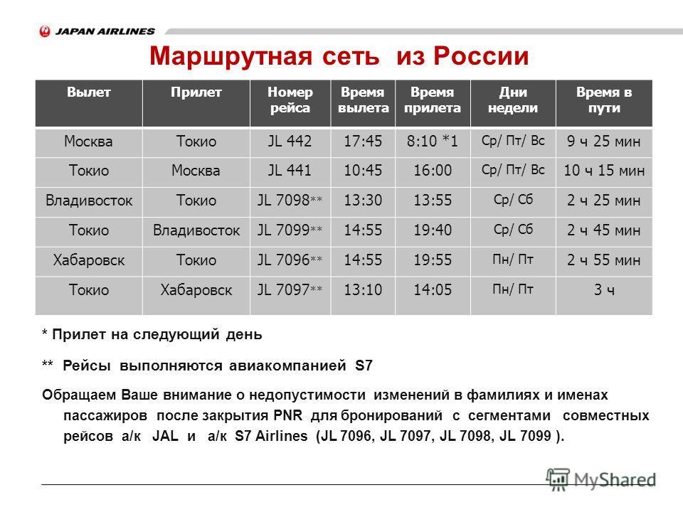 Маршрутная сеть из России * Прилет на следующий день ** Рейсы выполняются авиакомпанией S7 Обращаем Ваше внимание о недопустимости изменений в фамилиях и именах пассажиров после закрытия PNR для бронирований с сегментами совместных рейсов а/к JAL и а