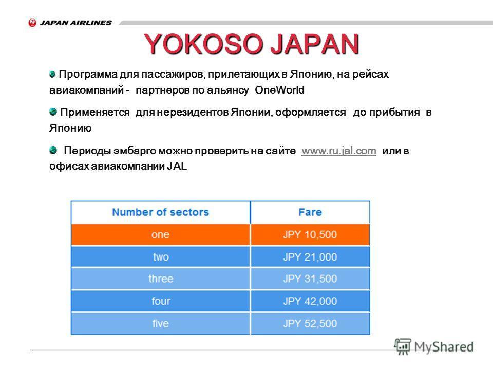 YOKOSO JAPAN Программа для пассажиров, прилетающих в Японию, на рейсах авиакомпаний - партнеров по альянсу OneWorld Применяется для нерезидентов Японии, оформляется до прибытия в Японию Периоды эмбарго можно проверить на сайте www.ru.jal.com или в оф