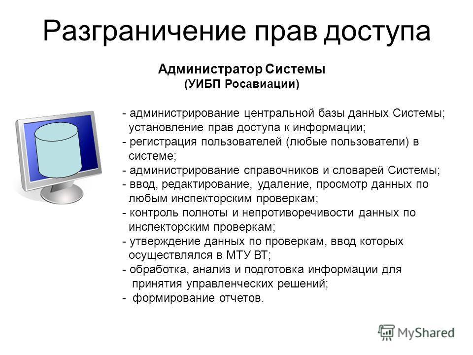 Разграничение прав доступа - администрирование центральной базы данных Системы; установление прав доступа к информации; - регистрация пользователей (любые пользователи) в системе; - администрирование справочников и словарей Системы; - ввод, редактиро