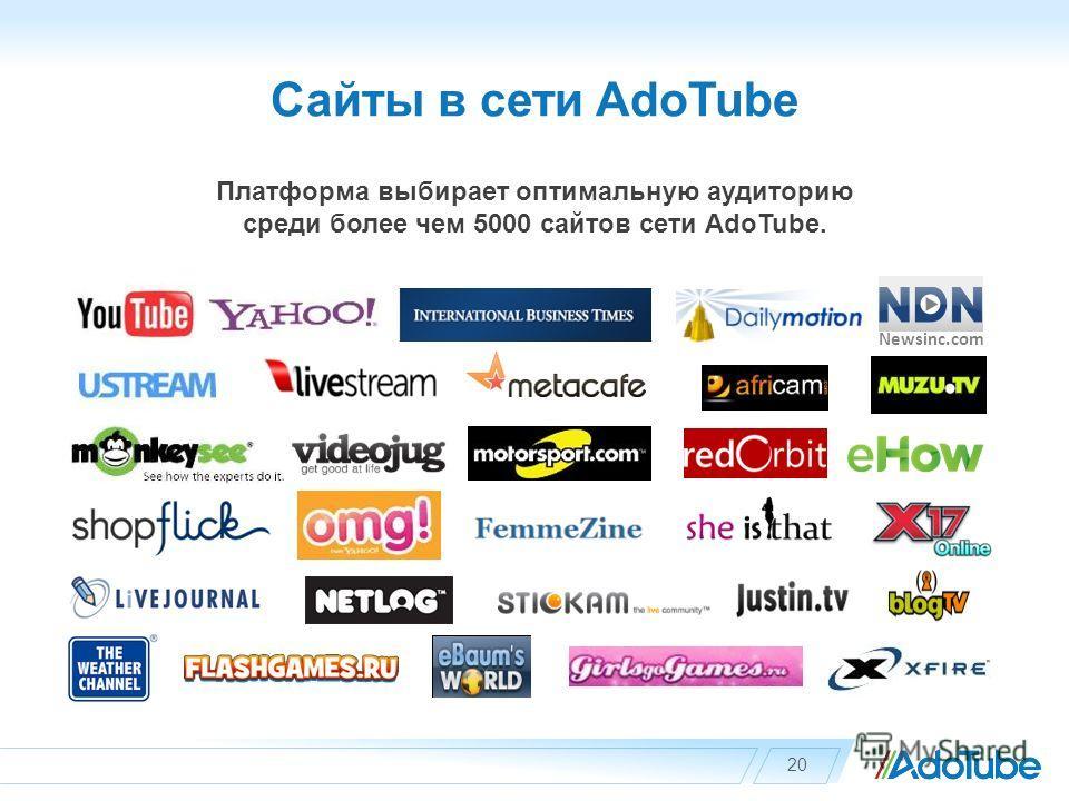 Сайты в сети AdoTube 20 Newsinc.com Платформа выбирает оптимальную аудиторию среди более чем 5000 сайтов сети AdoTube.