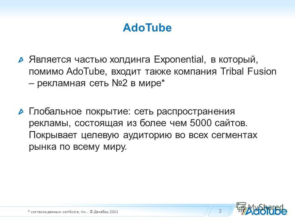 AdoTube Является частью холдинга Exponential, в который, помимо AdoTube, входит также компания Tribal Fusion – рекламная сеть 2 в мире* Глобальное покрытие: сеть распространения рекламы, состоящая из более чем 5000 сайтов. Покрывает целевую аудиторию