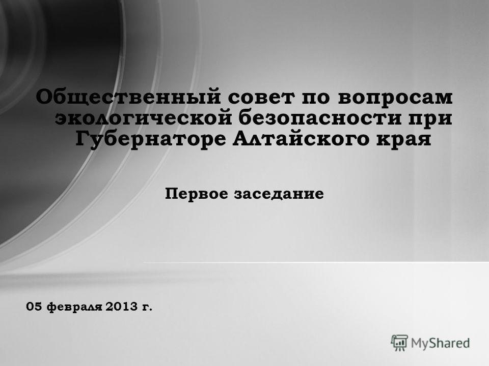 05 февраля 2013 г. Общественный совет по вопросам экологической безопасности при Губернаторе Алтайского края Первое заседание