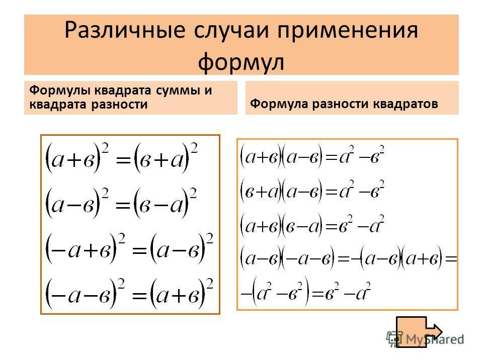 Различные случаи применения формул Формулы квадрата суммы и квадрата разности Формула разности квадратов
