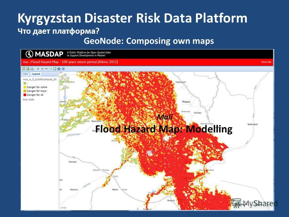 Kyrgyzstan Disaster Risk Data Platform Что дает платформа? GeoNode: Composing own maps Mali Flood Hazard Map: Modelling