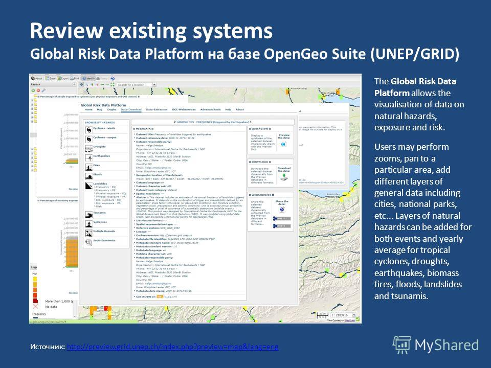Review existing systems Global Risk Data Platform на базе OpenGeo Suite (UNEP/GRID) The Global Risk Data Platform allows the visualisation of data on natural hazards, exposure and risk. Users may perform zooms, pan to a particular area, add different