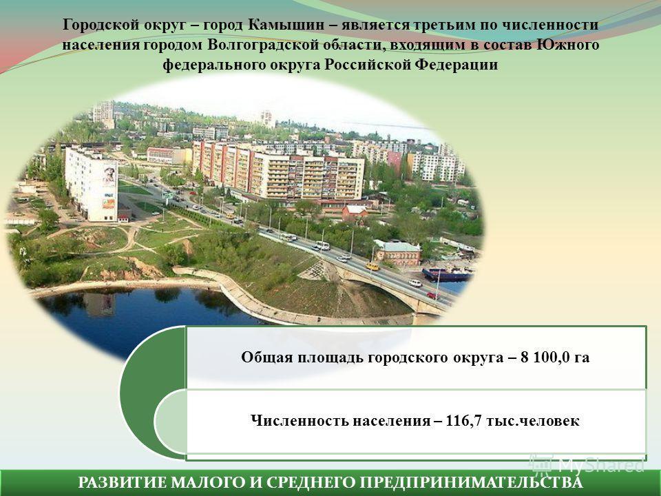 РАЗВИТИЕ МАЛОГО И СРЕДНЕГО ПРЕДПРИНИМАТЕЛЬСТВА Общая площадь городского округа – 8 100,0 га Численность населения – 116,7 тыс.человек Городской округ – город Камышин – является третьим по численности населения городом Волгоградской области, входящим