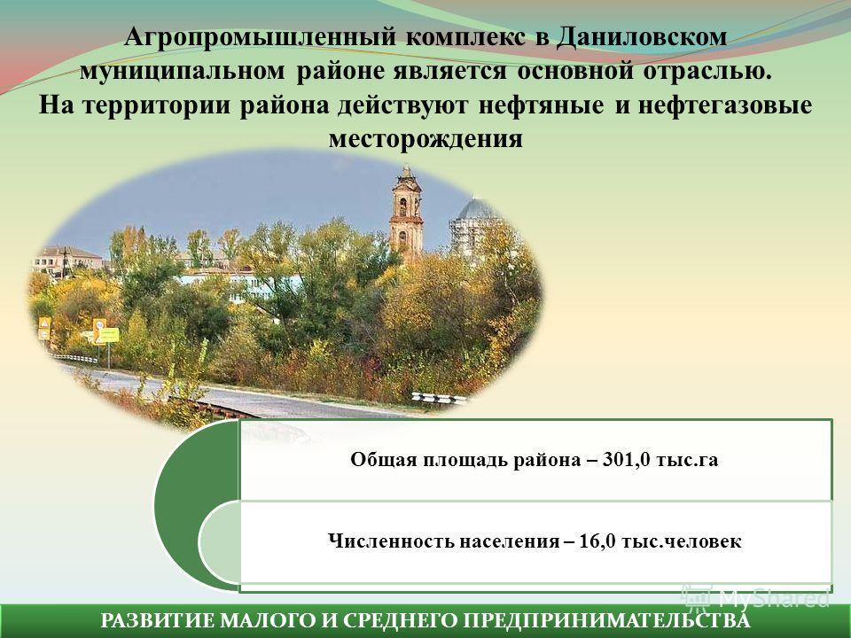РАЗВИТИЕ МАЛОГО И СРЕДНЕГО ПРЕДПРИНИМАТЕЛЬСТВА Общая площадь района – 301,0 тыс.га Численность населения – 16,0 тыс.человек Агропромышленный комплекс в Даниловском муниципальном районе является основной отраслью. На территории района действуют нефтян