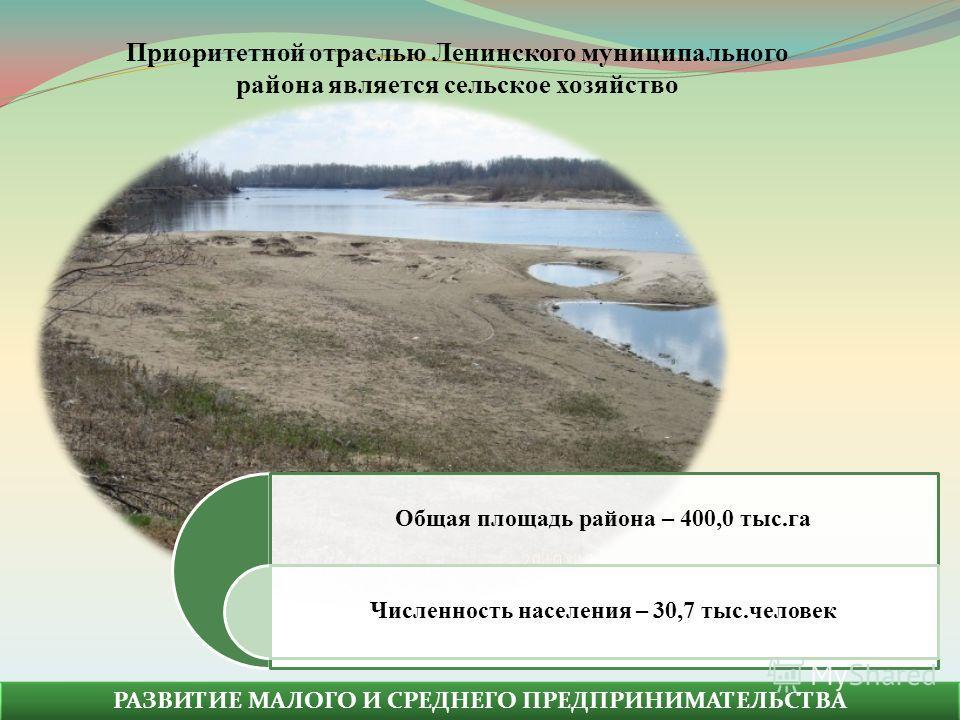 РАЗВИТИЕ МАЛОГО И СРЕДНЕГО ПРЕДПРИНИМАТЕЛЬСТВА Общая площадь района – 400,0 тыс.га Численность населения – 30,7 тыс.человек Приоритетной отраслью Ленинского муниципального района является сельское хозяйство